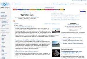 Startseite von Wikinews, die freie Nachrichtenquelle