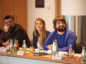 Patrick Breitenbach von Soziopod, Greta Hamann von Plan B und Andi Weiland von Leidmedien.de Foto: Grimme-Institut / Arkadiusz Goniwiecha