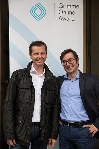Christian Daubner (BR) und Mustafa Isik (Netlight) Foto: Grimme-Institut / Arkadiusz Goniwiecha