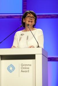 Dr. Frauke Gerlach, Direktorin des Grimme-Institut, begrüßt das Publikum.