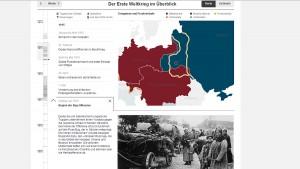 """Zeitleiste, interaktive Karte und Fotos im Angebot """"Weltenbrand"""" der NZZ."""
