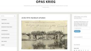 """Screenshot des Feldpostkarten-Blogs """"Opas Krieg"""""""