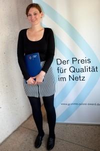 """Nora Burgard-Arp vom Projekt """"Anorexie – Heute sind doch alle magersüchtig""""; Foto: Grimme-Institut / Jens Becke"""