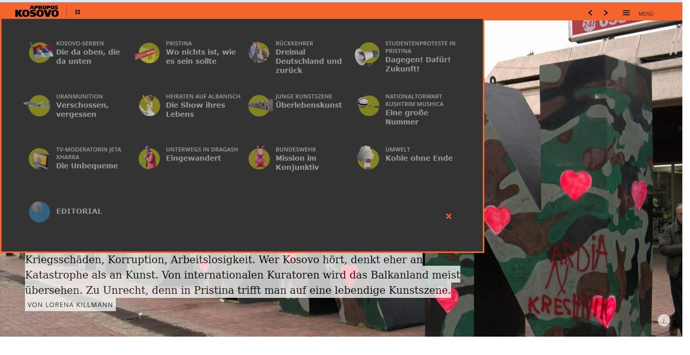 """Screenshot-Ausschnitt der 12 Reportagen zu """"Apropos Kosovo"""""""