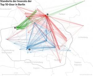 Verteilung der Wohnungen einzelner Airbnb-Vermieter in Berlin. Grafik: Airbnb vs. Berlin