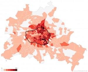 Grafische Darstellung der Verteilung der Airbnb-Inserate in Berlin. Grafik: Airbnb vs. Berlin