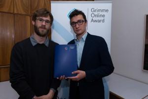 Alexej Hock (l.) und Johannes Filous bei der Bekanntgabe der Nominierungen zum Grimme Online Award 2016. Foto: Grimme-Institut / Rainer Keuenhof