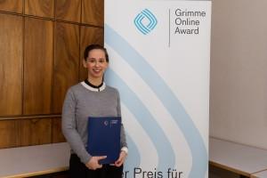 Corinne Luca bei der Nominierung für den Grimme Online Award 2016. Foto: Grimme-Institut / Rainer Keuenhof