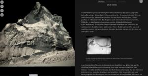 """Der Screenshot von """"Jagd aufs Matterhorn"""" zeigt das 3D-Modell des Berges neben dem Text über die Erstbesteigung."""