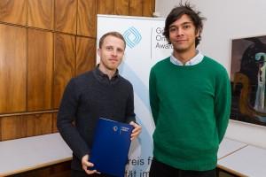 Jonas Parnow (l.) und Alsino Skowronnek bei der Nominierung für den Grimme Online Award 2016. Foto: Grimme-Institut / Rainer Keuenhof