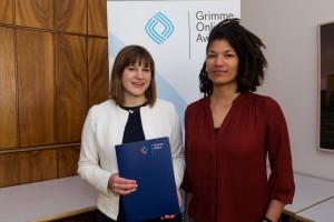 Kathrin Aldenhoff (l.) und China Hopson bei der Nominierung für den Grimme Online Award 2016. Foto: Grimme-Institut / Rainer Keuenhof