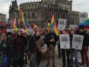 Gemeinsam gegen Homo- und Transphobie in Dresden. Foto: Nollendorfblog / Johannes Kram