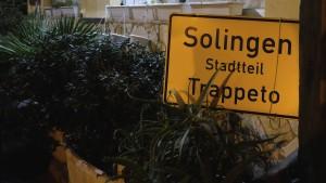Ortsschild, auf dem Trapetto als Stadtteil Solingens gilt. Foto: Stephan Morgenstern