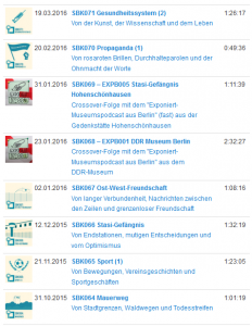Screenshot: Auswahl einiger Archivthemen.