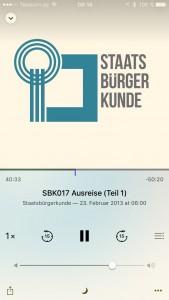 Screenshot: Der Staatsbürgerkunde-Podcast auf dem Smartphone.