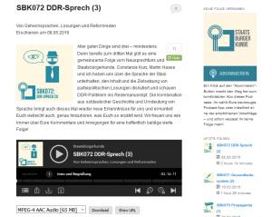 """Screenshot eines Beitrags des Podcast-Angebotes """"Staatsbürgerkunde""""."""