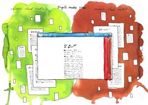 """Die Tuschezeichnung stellt die beiden """"content clouds"""" dar, in denen journalistische Artikel und wissenschaftliche Informationstexte im System """"hinter"""" dem jeweils betrachteten Material liegen und verlinkt sind. Foto: dekoder/Asya Maslova"""