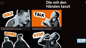 """Screenshot: Übersicht des Webspecials """"Die mit den Händen tanzt"""""""