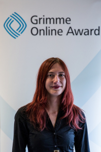 Laura Meschede bei der Bekanntgabe der Nominierungen zum Grimme Online Award. Foto: Grimme-Institut / Arkadiusz Goniwiecha