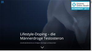"""Screenshot: Startbild der Website """"Lifestyle-Doping – die Männerdroge Testosteron"""""""