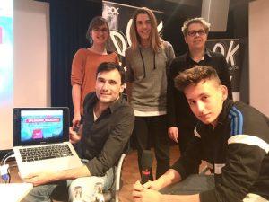 Producer Georg Tschurtschenthaler, Autorin Hannah Kappes, Producerin Tanja Schmoller, Medienpädagogin Birgit Marzinka(Agentur für Bildung e.V.), Youtuber Jakob Gentsch. Foto: #uploading_holocaust