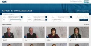 """Screenshot: Die Website von """"Ihre Wahl – der WDR-Kandidatenchecks. Die User können selbständig ihre Kandidaten anhand verschiedener Kategorien suchen"""
