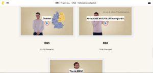 """Screenshot der Website """"Gebärdengrips"""" mit Videothemen der Kategorie """"Gebärdensprachpoesie"""""""
