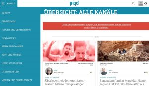 """Screenshot der Website von """"piqd"""""""
