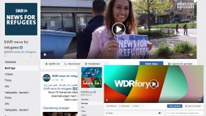 "Screenshots der Facebookseiten ""SWR - News for refugees"" und ""WDRforyou"""