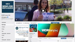 """Screenshots der Facebookseiten """"SWR - News for refugees"""" und """"WDRforyou"""""""