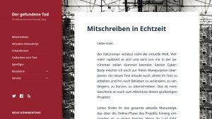 """Screenshot des Netzromans """"Der gefundene Tod"""""""