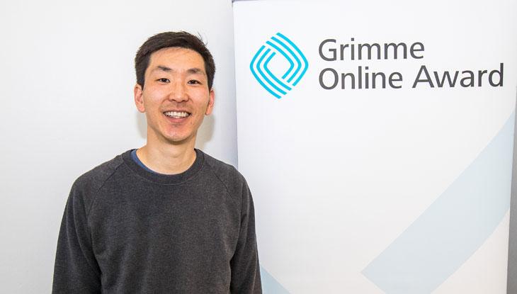 """Frank Joung vom """"Halbe Katoffl Podcast"""" bei der Bekanntgabe der Nominierungen zum Grimme Online Award 2018. Foto: Rainer Keuenhof / Grimme-Institut"""