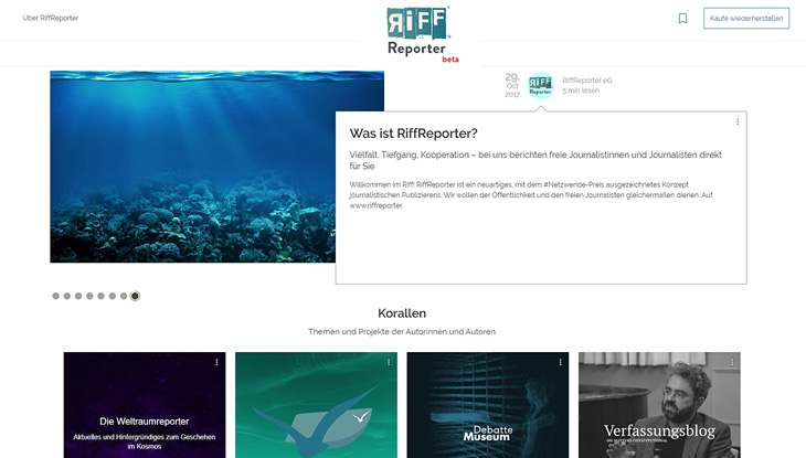 "Screenshot: Website ""RiffReporter"""