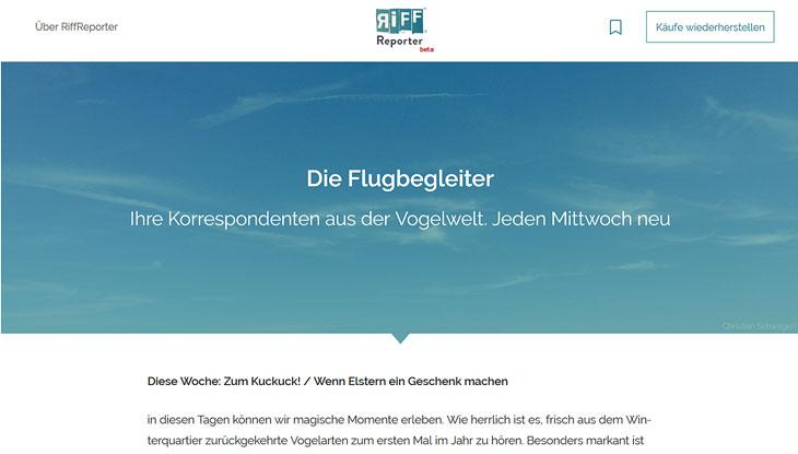 "Screenshot: Website ""RiffReporter"""