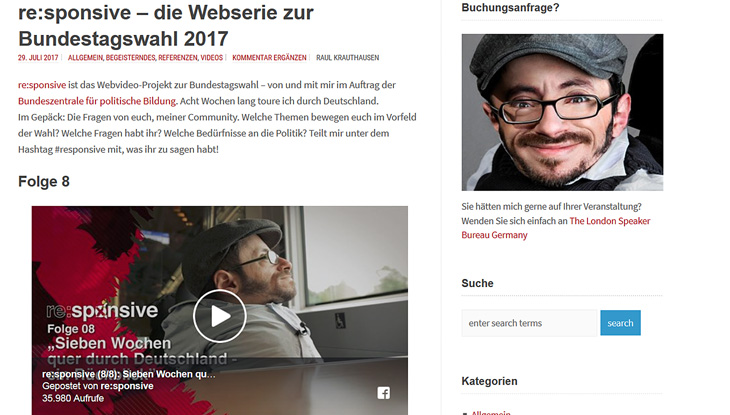 Screenshot: Website von Raul Krauthausen