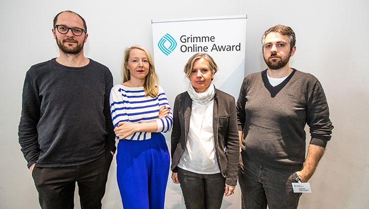 """Das Team von """"Bewegte Jahre"""" bei der Bekanntgabe der Nominierung am 26. April 2018; Foto: Rainer Keuenhof/Grimme-Institut."""