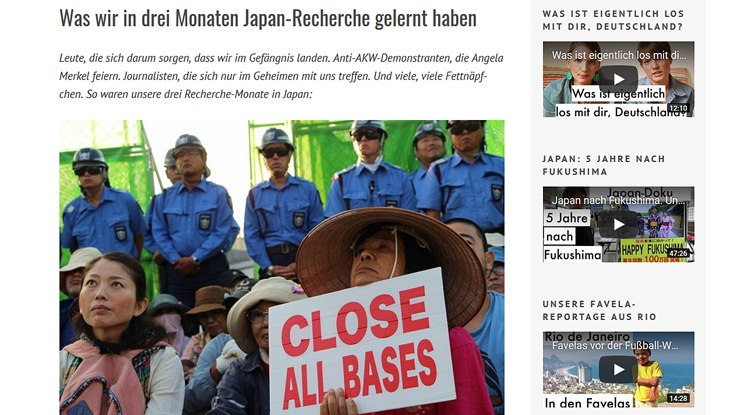 "Screenshot: Website ""Crowdspondent"""