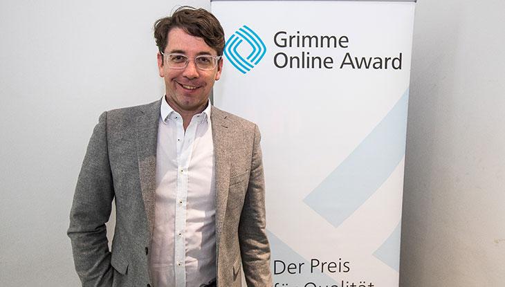 Autor Sascha Venohr bei der Bekanntgabe der Nominierung zum Grimme Online Award; Foto: Rainer Keuenhof/ Grimme-Institut