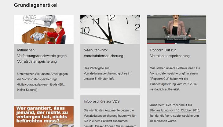 """Screenshot: Website """"Digitalcourage e.V"""""""