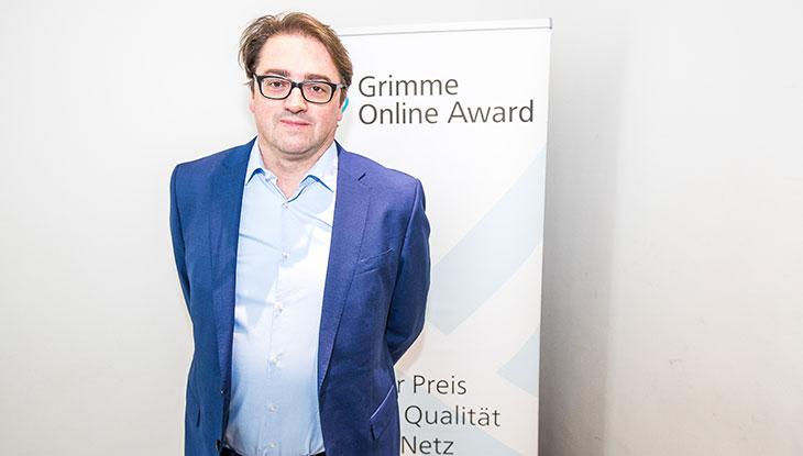 Thilo Knott bei der Bekanntgabe der Nominierung zum Grimme Online Award 2018; Foto: Rainer Keuenhof/ Grimme-Institut.