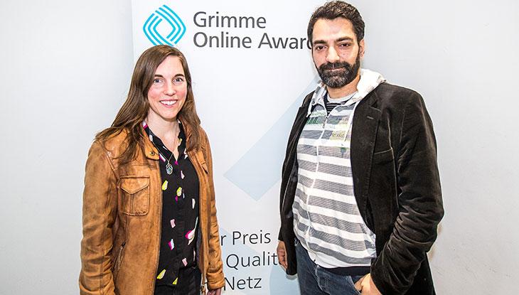 Lilith Becker und Özgür Uludag bei der Bekanntgabe der Nominierung zum Grimme Online Award 2018; Foto: Rainer Keuenhof/ Grimme-Institut