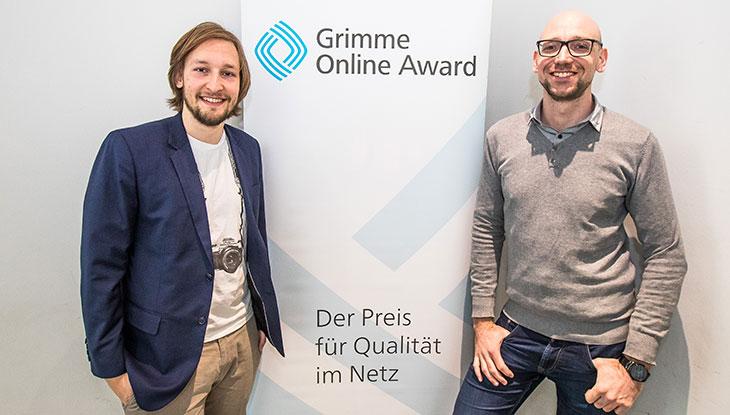 Benedict Witzenberger und Christian Endt bei der Bekanntgabe der Nominierung zum Grimme Online Award 2018; Foto: Rainer Keuenhof/ Grimme-Institut