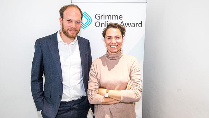 Philip Faigle und Maria Exner bei der Bekanntgabe der Nominierung zum Grimme Online Award 2018; Foto: Rainer Keuenhof/ Grimme-Institut