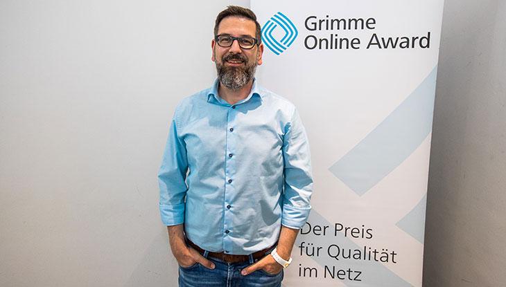 Matthias Franzmann bei der Bekanntgabe der Nominierung zum Grimme Online Award 2018; Foto: Rainer Keuenhof/ Grimme-Institut