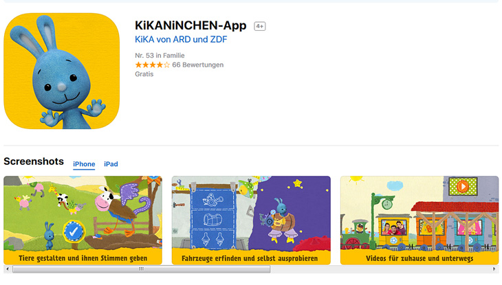 "Screenshot: ""KiKANiNCHEN-App"""