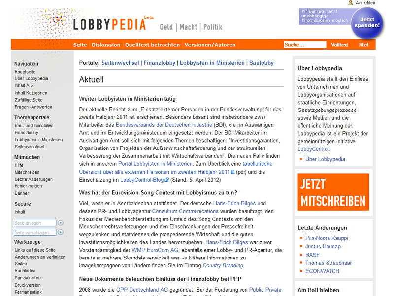 Screenshot: lobbypedia.de