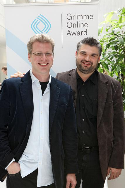 Patrick Breitenbach und Nils Köbel von Soziopod Foto: Grimme-Institut/Arkadiusz Goniwiecha