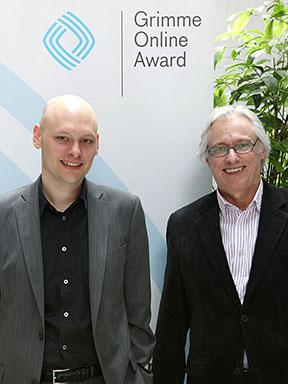 Markus Pleimfeldner und Volker Bernius vom Was glaubst Du denn? hr2-Kinderfunkkolleg Foto: Grimme-Institut/Arkadiusz Goniwiecha