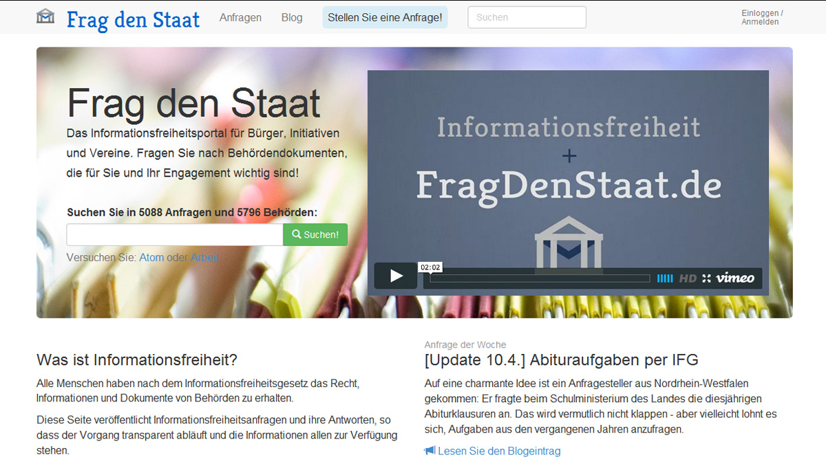 "Screenshot ""FragDenStaat.de"""