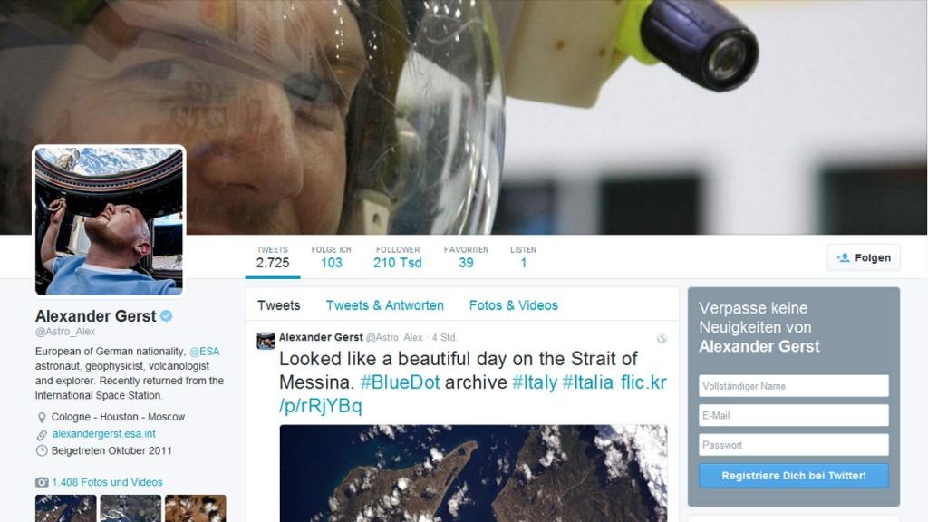 Screenshot des Twitter-Accounts von Alexander Gerst